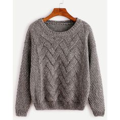 SheIn(sheinside) Dark Grey Drop Shoulder Sweater (310 ARS) ❤ liked on Polyvore featuring tops, sweaters, shirts, grey, jumpers, grey pullover sweater, long sleeve jumper, long-sleeve shirt, grey shirt and gray sweater