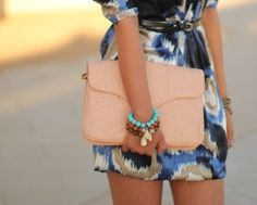 ostrich envelope clutch.. Love the outfit too