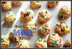 M & M granola balls without cooking - snacks Granola, Healthy Snacks, Healthy Recipes, Little Bites, Biscuits, Deserts, Lunch Box, Food And Drink, Treats