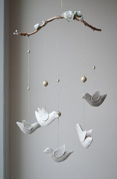 Bird Mobile for Home or a Baby Nursery Decoration, Home Décor Gift, Wedding Decoration, Unique Natural Mobile, Tree Branch with Linen Birds