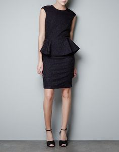 JACQUARD DRESS WITH A PEPLUM FRONT - Dresses - Woman - ZARA United States - new take on an LBD
