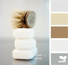 Meg, Show these colors to ur mom.....for bedroom her bathroom Essentially the color palette for the master bathroom (the dark tan is the color of the bedroom, so well use the lighter tan on the walls). Then using white/grey tile and dark vanity/shelves.