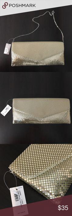 """Jessica McClintock Gold V Flap Mesh Clutch NWT Jessica McClintock Gold V Flap Mesh Ball Clutch, new with tags. Purchased it for my bridesmaids & ended up gifting them something different.  Has a strap that can be tucked in or used. One zippered Pocket on the inside. 12"""" across, 5.5"""" from top to bottom. Jessica McClintock Bags Clutches & Wristlets"""