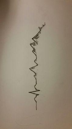Cool EKG Mountain Tattoo Idea
