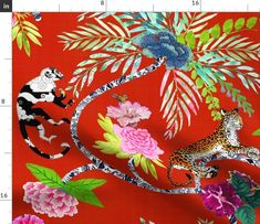 Chinoiserie Frolic - Spoonflower Chinoiserie Fabric, Fabric Animals, Spoonflower Fabric, Natural Texture, Fleece Fabric, Surface Design, Custom Fabric, Accent Pillows, Cotton Canvas
