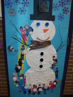 Winter door decoration. We read The Biggest Snowman Ever!