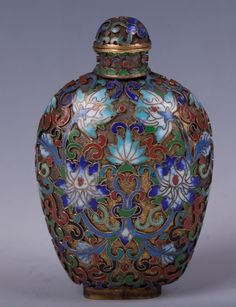 CHINESE GILT BRONZE FILLED ENAMEL SNUFF BOTTLE