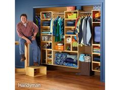 Closet Organization: Organize your closets and store everything neatly with this easy-to-build, yet handsome, box system. You can easily customize it to clear up the clutter in your home office too. Closet Storage Systems, Closet Organization, Storage Solutions, Storage Spaces, Closet System, Shelving Systems, Door Storage, Bedroom Storage, Storage Ideas