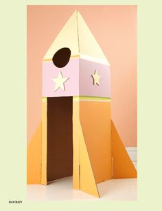 Rocket made from cardboard boxes.  FUN!  Play inside.....