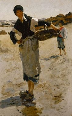 "John Singer Sargent ~ Woman with a Basket ~ Sketch for ""Oyster Gatherers of Cancale"" 1877"