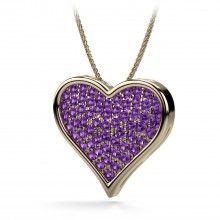 Amethyst Heart Shaped Pendant in 14kt Yellow Gold