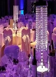 Crystal Chandelier Table Centres, chandelier table centres, crystal columns for hire,