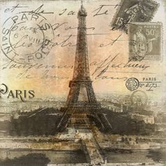 Paris, postcard, stamps, Eiffel Tower.