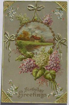 Cottage by A Lake Purple White Lilacs Ribbon Bows Postcard CA 1910   eBay