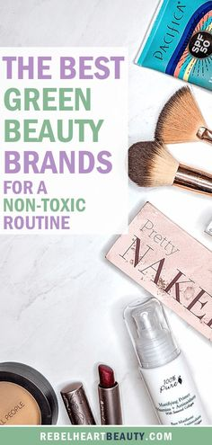 The best green beauty brands and products to switch to for a non-toxic makeup and beauty routine. These brands are high quality, sustainable, and easy on a budget. Use this as a green beauty guide to clean beauty products and natural makeup from your hair Make Natural, Natural Hair Care, Natural Skin, Natural Life, Natural Health, Beauty Care, Diy Beauty, Beauty Skin, Beauty Hacks