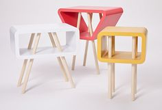 Open Minded is a series of tables that differs in height, shape and color, hand-crafted in sustainable wood. A multi-functional object with simple and clean lines, vibrant colors that characterize a functional and attractive design, a small table storage that, if needed, can be used as a comfortable seat. By Jolanda van Goor.