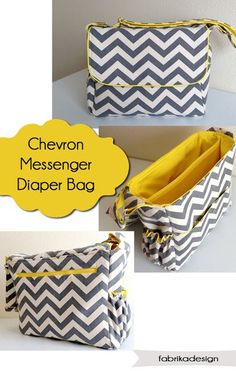 g*rated: Chevron Messenger Diaper Bag - so great it's not just for diapers! Sewing Hacks, Sewing Tutorials, Sewing Crafts, Sewing Projects, Sewing Patterns, Diaper Bag Tutorials, Baby Crafts, Baby Sewing, Bag Making