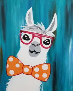 Creating this painting is no Prob-Llama! Fun for a. Creating this painting is no Prob-Llama! Fun for all ages, this little cutie is sure to create some giggles and an all around great time. Acrylic Painting For Beginners, Acrylic Painting Canvas, Diy Painting, Painting Classes, Kids Canvas, Canvas Art, Kids Paintings On Canvas, Simple Paintings, Lama Animal
