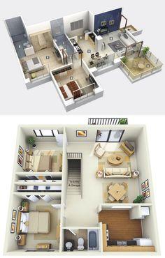 Home Designing — (via 2 Bedroom Apartment/House Plans) #cocinaspequeñasorganizar
