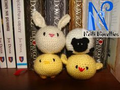 My easter gang made with Spring Squishies pattern from A Morning Cup of Jo Creations http://www.ravelry.com/patterns/library/spring-squishies?buy=1