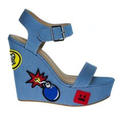 LtBlueDen Womens Pop Art Embroidered High Platform Wedge Open Toe Sandal 10 * See this great product. (This is an affiliate link) Blue Wedge Shoes, Black Platform Wedges, Blue Wedges, Platform Wedge Sandals, Platform Shoes, Ankle Strap Wedges, Shoes Heels Wedges, Dress Sandals, Open Toe Shoes