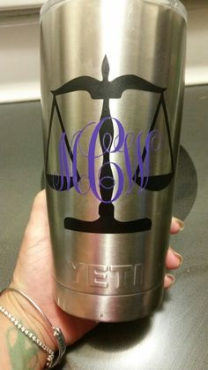 Personalized law scale on Yeti tumbler