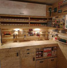 Nick Martin on Insta Garage Workshop Organization, Garage Tool Storage, Workshop Storage, Garage Tools, Garage Shop, Shed Storage, Woodworking Workshop, Woodworking Shop, Woodworking Ideas