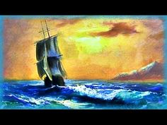 """Sunset in the Ocean"" Easy learning to paint seascape. Paint sea with oil. Acrylic painting - YouTube"
