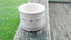 Longaberger Pottery Salt Crock Woven Tradition Blue via Etsy.
