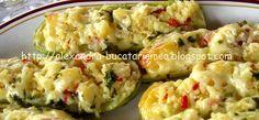 Reteta culinara Dovlecei umpluţi cu brânză din categoria Aperitive / Garnituri. Cum sa faci Dovlecei umpluţi cu brânză Potato Salad, Potatoes, Vegetables, Cooking, Ethnic Recipes, Food, Kitchen, Potato, Essen