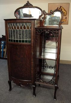 ~ A Rare Oak Étagere Music Cabinet w/Leaded Door ~ new.liveauctioneers.com
