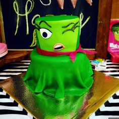 Click through for some Inside Out inspired party ideas. Here's an awesome Disgust cake for a 6th birthday party!