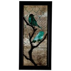 """Turquoise birds      Dimensions:      Length: 41 7/8""""    Width: 19 7/8""""    Thickness: 7/8""""          Hanging Hardware:      2 - Triangle Hangers (17 1/4"""" from Center to Center)"""