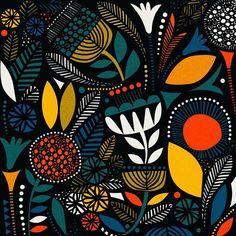 Regran from - Door Midnight Garden Motifs Textiles, Textile Patterns, Print Patterns, Floral Patterns, Floral Motif, Surface Pattern Design, Pattern Art, Stoff Design, Art Populaire