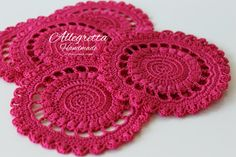 Cheerful  Coasters Crochet  Sottobicchieri di AllegrettaHandmade