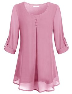 Cestyle Women's Roll-up Long Sleeve Round Neck Layered Chiffon Flowy Blouse Top [Amazon.com]