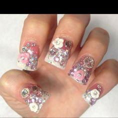 Pink 3D nails