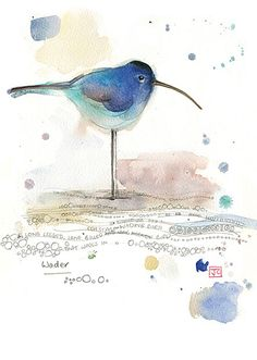 Blue Wader by Jane Crowther. Design for Bug Art greeting cards.