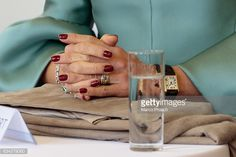 A closeup of Queen Maxima Of The Netherlands' hands during a visit to the Spinlab a former cotton spinning mill now home to a startup accelerator...