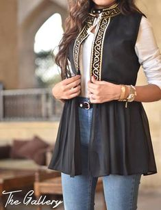 black gabardine chiffon vest with golden indian embroidery . Indian Fashion Dresses, Pakistani Fashion Casual, Indian Gowns Dresses, Dress Indian Style, Frock Fashion, Pakistani Dress Design, Indian Designer Outfits, Hijab Fashion, Fashion Outfits