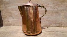 Antigua caldera de cobre, cafetera de café, cobre