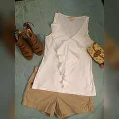 Micheal Kors  White Ruffle Front Tee Micheal Kors White Ruffle Front Sleeveless Tank Top M Michael Kors Tops