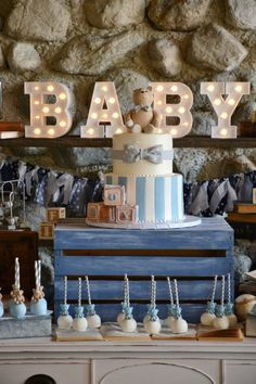 Wood, galvanized metal, burlap, hand painted alphabet blocks, pennant banners, & teddy bears were some of the details from this vintage baby boy shower.