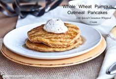 Whole Wheat Pumpkin Oatmeal Pancakes for a warming and delicious way to start a crisp fall day!