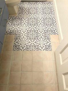 Updating the Bathroom Floor with Tile Stickers - Badezimmer - Painted floor tiles Home Renovation, Home Remodeling, Bathroom Renovations, Bathroom Makeovers, Bathroom Remodelling, Decorating Bathrooms, Peel And Stick Floor, Stick On Tiles Floor, Sticky Tile Floor