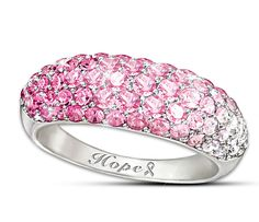 Beautiful pink crystal ring is a stylish way to show your support for Breast Cancer Awareness.  Fashion with a passion!