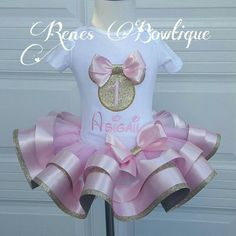 Pink and Gold Minnie Mouse Ribbon Tutu Set by RenesBowtique Barbie Birthday, Minnie Birthday, Birthday Tutu, Princess Birthday, Bday Girl, 1st Birthday Girls, 1st Birthday Parties, Tutu Minnie, Minnie Mouse Pink