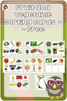 Fruit and Vegetable Sorting Cards --The cards may be used for simple sorting. Ask questions like what colors do you notice? Free via @wiseowlfactory