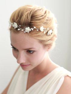 Flower hair wreath, lace wreath, grecian, bridal halo, wedding headband, hair - style 212