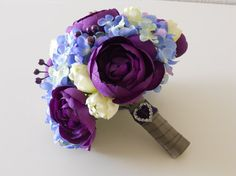 Bouquet ideas.                                                               Purple Blue Ivory Grey and Silver Combo Bridal by LKWeddingBouquet, $84.00